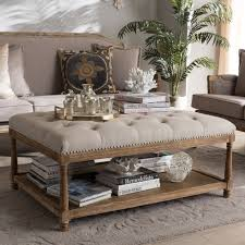 French Ottoman baxton studio carlotta french country weathered oak beige linen 8459 by guidejewelry.us