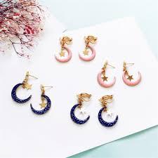 Original Japan and South <b>Korea retro</b> fashion stars <b>earrings</b> moon ...