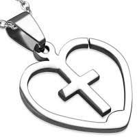 Přívěsek Z Oceli Srdce S Křížkem