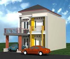 desain rumah minimalis modern 2 lantai tampak depan with model
