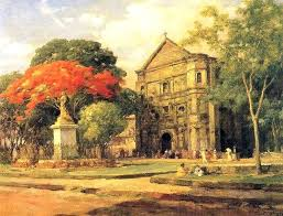 old spanish church by amorsolo