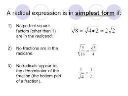 a radical expression is in simplest form if 1 no perfect square factors