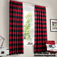 ... Curtains, Inspiring Black And Red Long Red Curtains Fabric And Striped Curtains  Red Curtain Swing ...