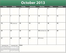 Calendar 2013 Template Printable Pdf October 2013 Calendar