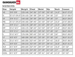 Quiksilver Hat Size Chart 34 Reasonable Mares Wetsuit Sizing Chart