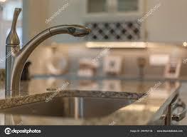 Kitchen Sink Water Faucet Fixture Closeup Modern Design Stainless