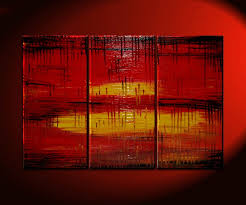 large red abstract painting modern contemporary art textured impasto original bold art vibrant urban triptych painting