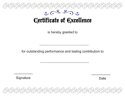 blank certificates excellence certificate template blank free blank printable