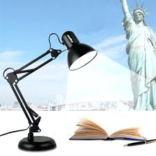 clamp swing arm adjule desk lamp work light drafting table black base swing arm lamp clamp