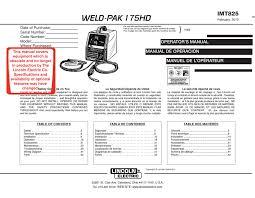 Weld Pak 175hd Lincoln Electric Manualzz Com
