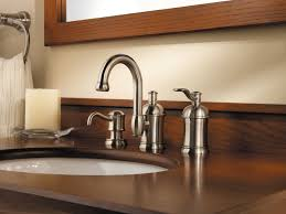 satin nickel bathroom faucets: pfister amherst  handle  quot widespread bathroom faucet with soap middot moen brantford brushed nickel