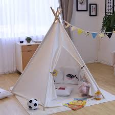 Ins Solid White Canvas Portable Indian Play Tent Children Kids Boys Girls  Play Indoor Tents For