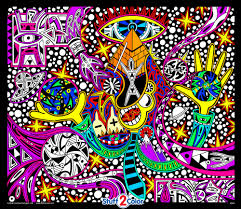 Black Light Coloring Posters Twisted Logic Fuzzy Coloring Poster
