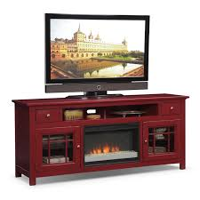 merrick 74 fireplace tv stand with contemporary insert red