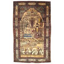 antique persian kashan silk pictorial rug with the leyli and majnun for at 1stdibs