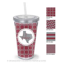 college straw tumbler personalized maroon and grey for texas a m university aggies trellis