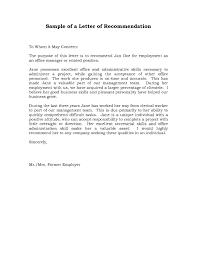 Sample Recommendation Letter For Job Sample Resume Format With Job