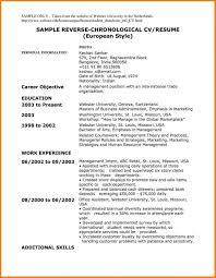 Cv In Reverse Chronological Format Resume Tips