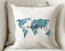 decorative pillows with words. Plain With Explore Pillow Quote  World Map Decor Travel Aqua  With Words Decorative Throw Pillows Teal Dorm Inside With F
