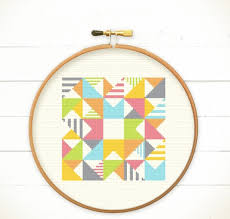 Modern Cross Stitch Patterns Magnificent Modern Geometric Cross Stitch Pattern PDF Play With Triangles N