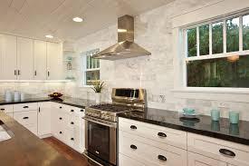traditional marble tile backsplash