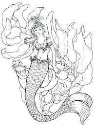 Realistic Mermaid Coloring Sheets Mermaid Coloring Pages For Adults