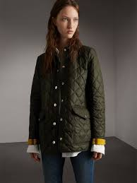 Quilted Jackets & Puffers for Women | Burberry United Kingdom & Check Detail Diamond Quilted Jacket in Military Green Adamdwight.com
