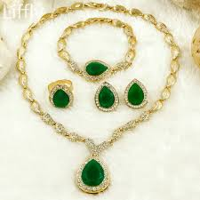 2018 fashion dubai women gold jewelry sets high quality green crystal necklace ring dangle earrings bride