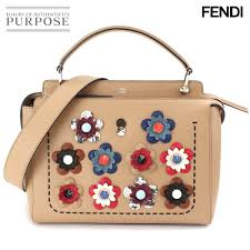 unused display fendi fendi dot com 2way hand shoulder bag flower leather beige 8bn293 used brand