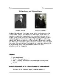 industry philanthropy vs robber baron docs and essay tpt robber baron docs and essay