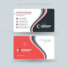 Double Sided Business Card Template With Abstract Red And Black With