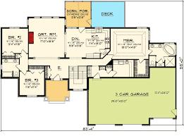 Craftsman Ranch With Car Garage   AH   st Floor Master    Floor Plan