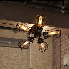 vintage ceiling lighting. Vintage Edison Barn Metal Semi Flush Mount Light Max 300W With 5 Lights Black Finish Store Club Cafe Coffee Shop Dining Room-in Ceiling From Lighting