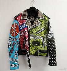 diy paint leather jacket punk studded leather jacket original hand painted one off made in