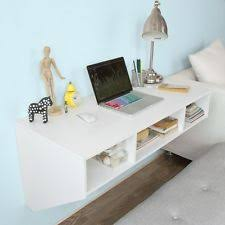 wall mounted office desk. white computer desk with shelves space saving wooden wall mounted home office