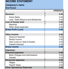 excel income statement personal income statement excel oyle kalakaari co