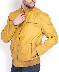 men s er mustard yellow leather jacket
