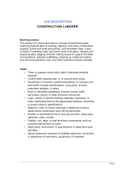 Construction Laborer Job Description