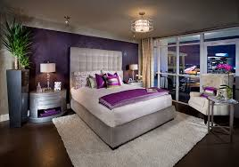 Delightful Ideas For A Purple And Gray Bedroom With Modern Extra Big Headboards