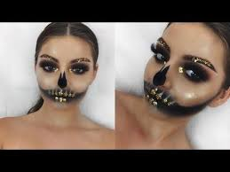 10 30 glam skull w gold flakes makeup tutorial shelby triglia