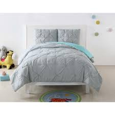 pleated silver grey and turquoise multi full and queen duvet set