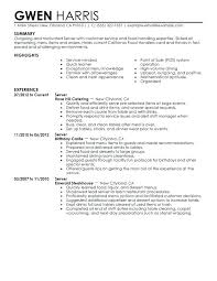Resume Sample For Server Unforgettable Server Resume Examples To
