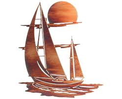 >sailboat of tranquility metal wall sculpture