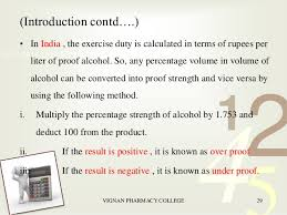 Alcohol Proof Conversion Chart Pharmaceutical Calculations