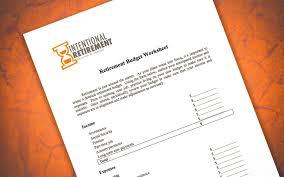 Retirement Budget Worksheet Intentionalretirement Com
