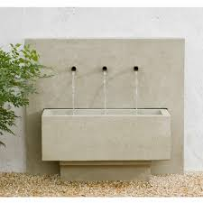 modern wall fountains design with grey wall pots on the cream stones accent floor