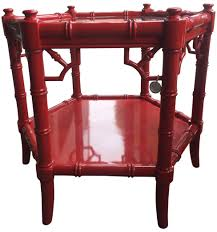 red lacquered furniture. Pair Of Red Lacquered Chinoiserie Side Tables - Mid-Century Modern Asian Dering Hall Furniture