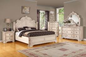 Shabby White Wooden Carving Bed With Headboard On Brown Floor Completed By  Dressing Table With Mirror