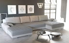 Couchgarnitur U Form Mit Schlaffunktion Und Bettkasten Weißgrau