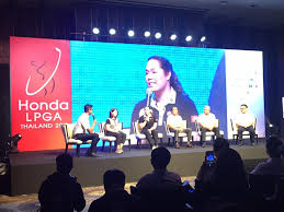2018 honda lpga thailand.  thailand honda lpga thailand 2018 daretodream  image may contain 1  person on stage and indoor with honda lpga thailand f
